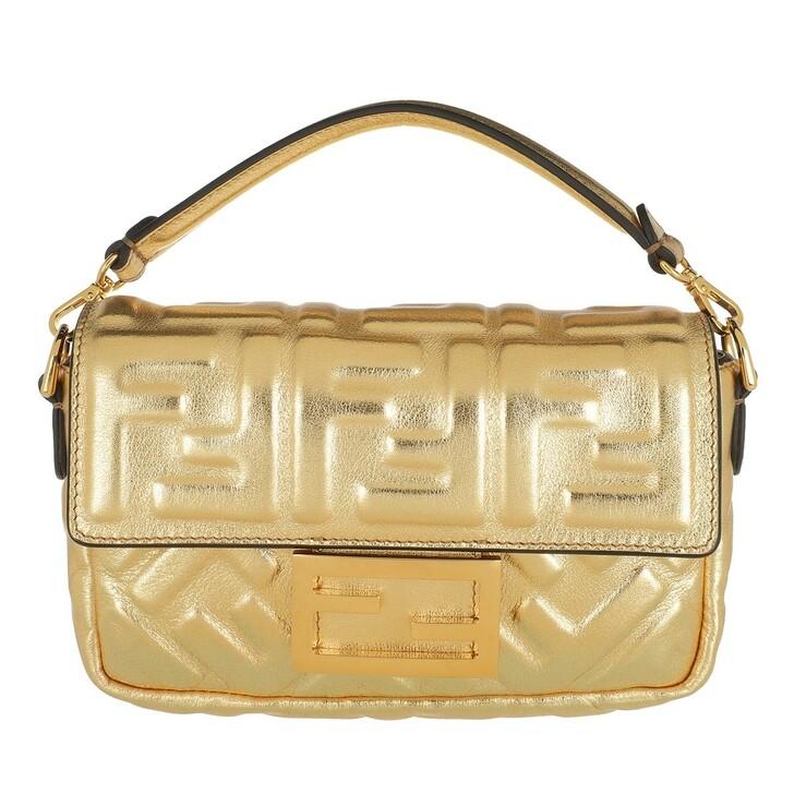 Handtasche, Fendi, Mini Baguette Crossbody Bag Leather Gold