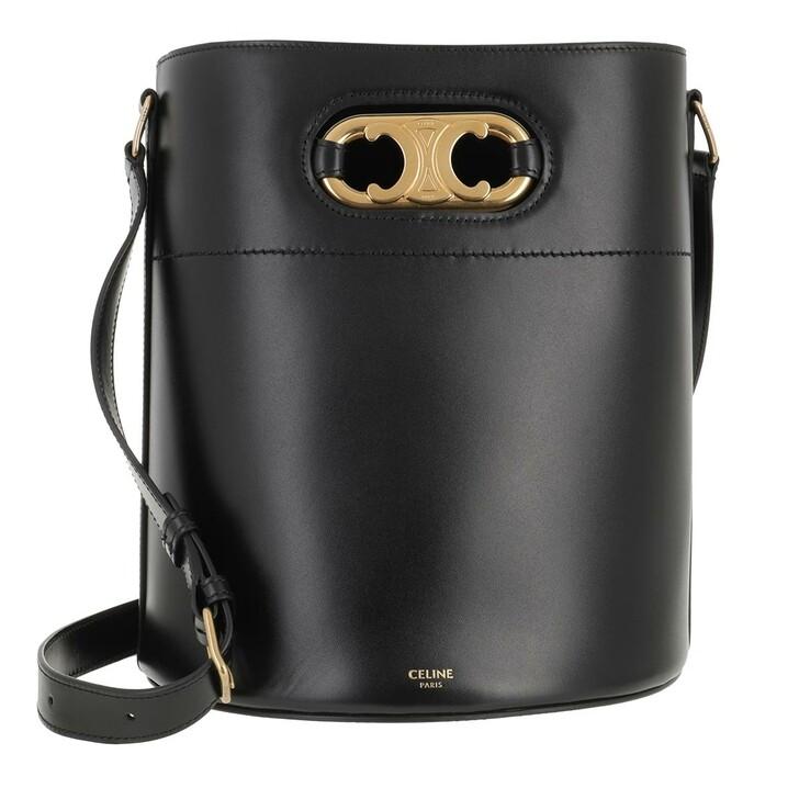 Handtasche, Celine, Maillon Triomphe Bucket Bag Calf Black