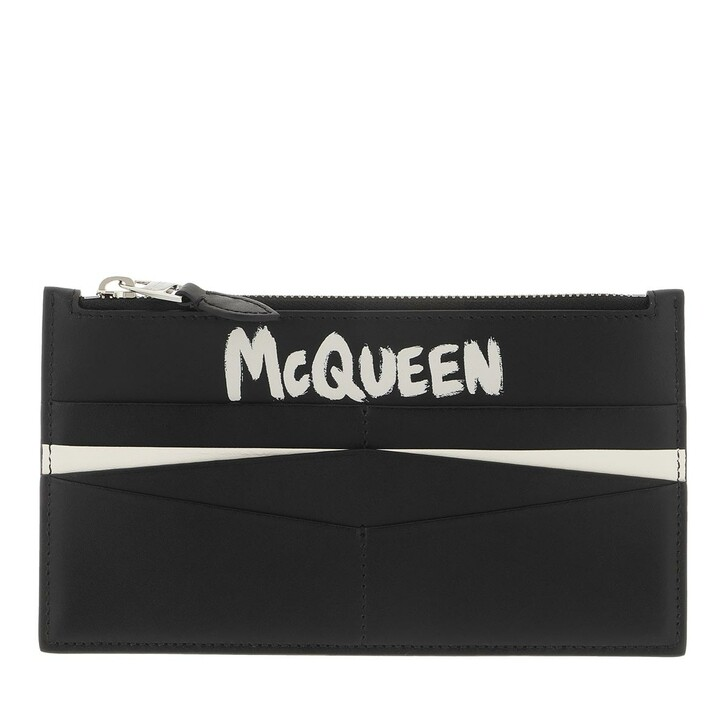 wallets, Alexander McQueen, Logo Print Card Holder Black