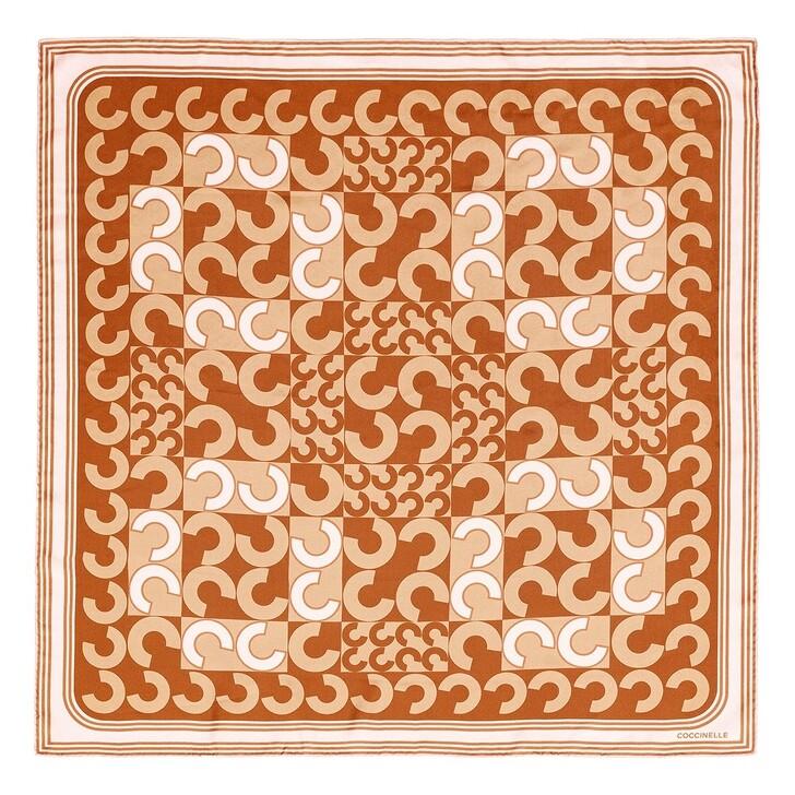 scarves, Coccinelle, Scarves Foulard 90X90  Multi.Chestnut