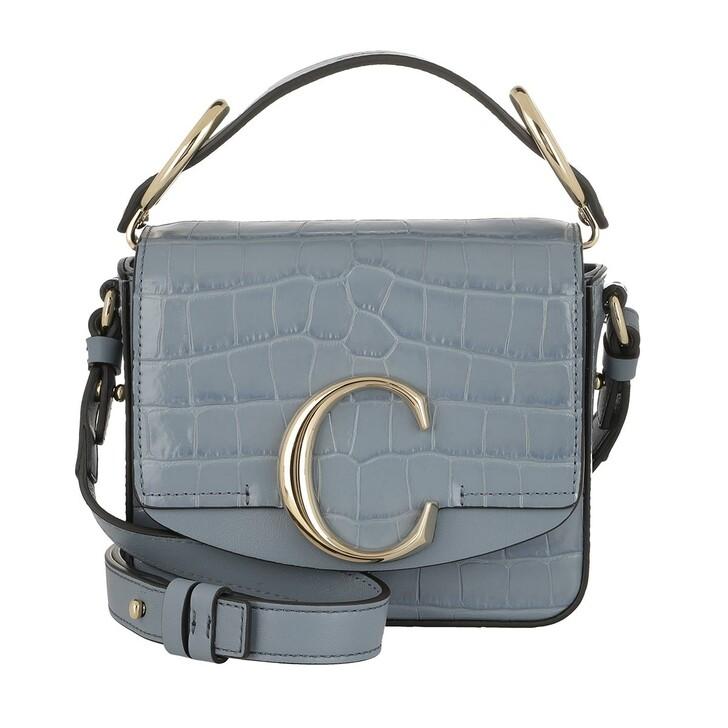 Handtasche, Chloé, C Shoulder Bag Leather Ash Blue