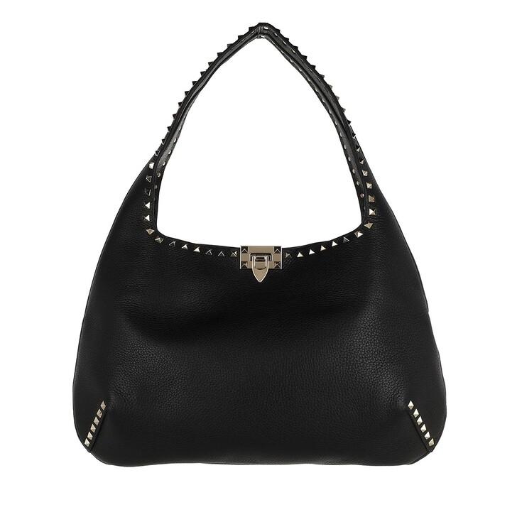 Handtasche, Valentino Garavani, Rockstud Hobo Bag Leather Black