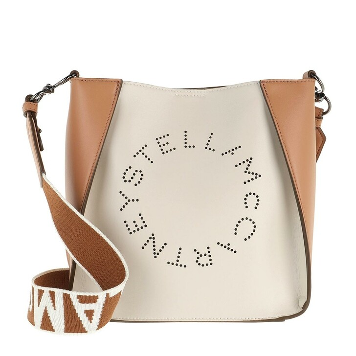 bags, Stella McCartney, Mini Crossbody Bicolor Eco Soft Alt Nappa Logo Pure White/Camel