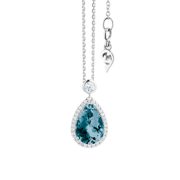 """necklaces, Capolavoro, Necklace """"Espressivo"""" 18K White Gold, Topaz London Blue"""