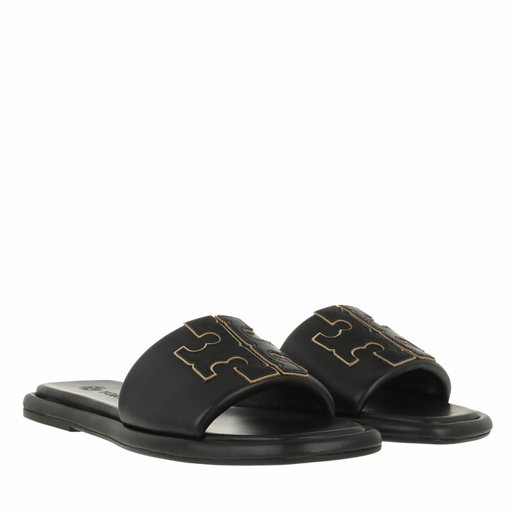 shoes, Tory Burch, Double T Sport Slide Perfect Black / Gold