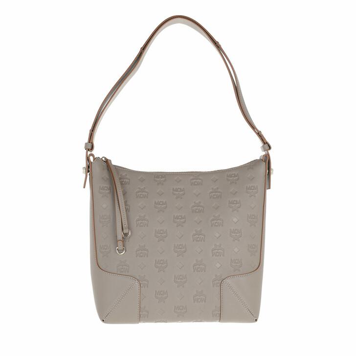 bags, MCM, Klara Monogram Leather Hobo Medium Cognac