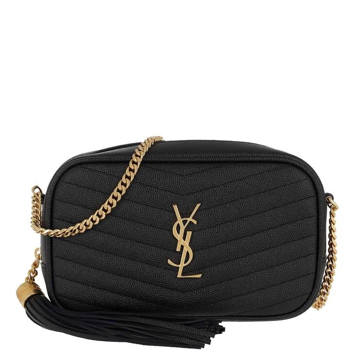 Handtasche, Saint Laurent, Lou Mini Crossbody Bag Leather Black