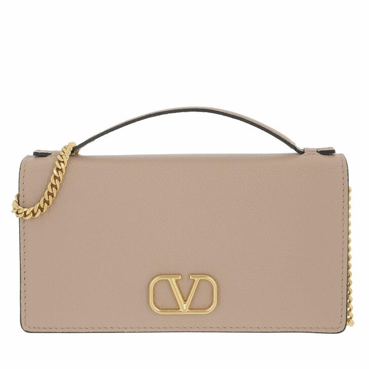 bags, Valentino Garavani, Wallet On Chain Calfskin Powder