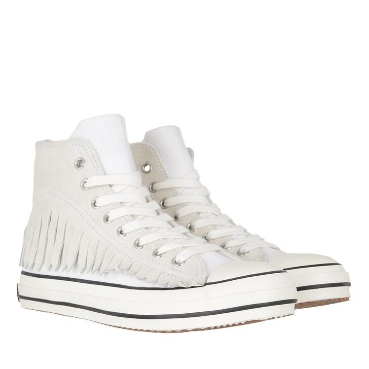 Schuh, Palm Angels, Fringe Basket High Vulcanized   White Black