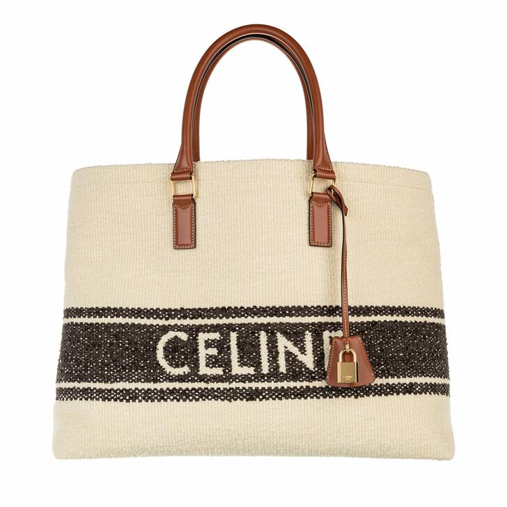 Handtasche, Celine, Horizontal Woven Logo Shopping Bag Brown/Tan