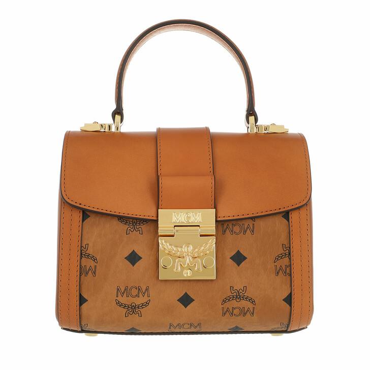 Handtasche, MCM, Small Tracy Visetos Satchel Bag Cognac