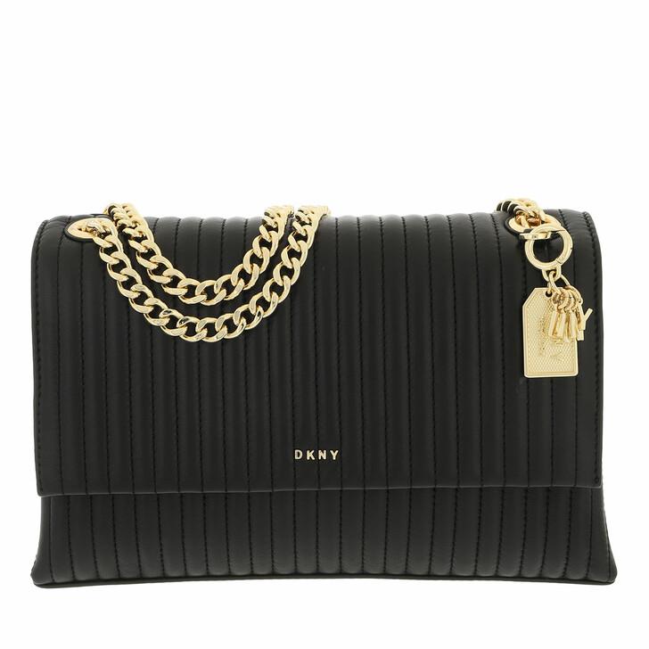 bags, DKNY, Amelia Flap Shoulder Black Gold