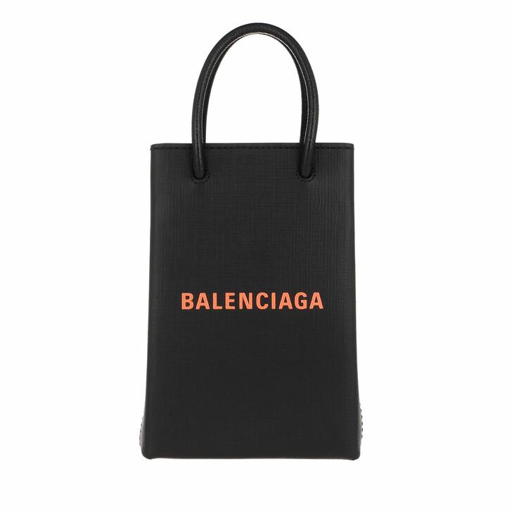 Handtasche, Balenciaga, Shopping Phone Holder Bag Leather Black/Fluo Orange
