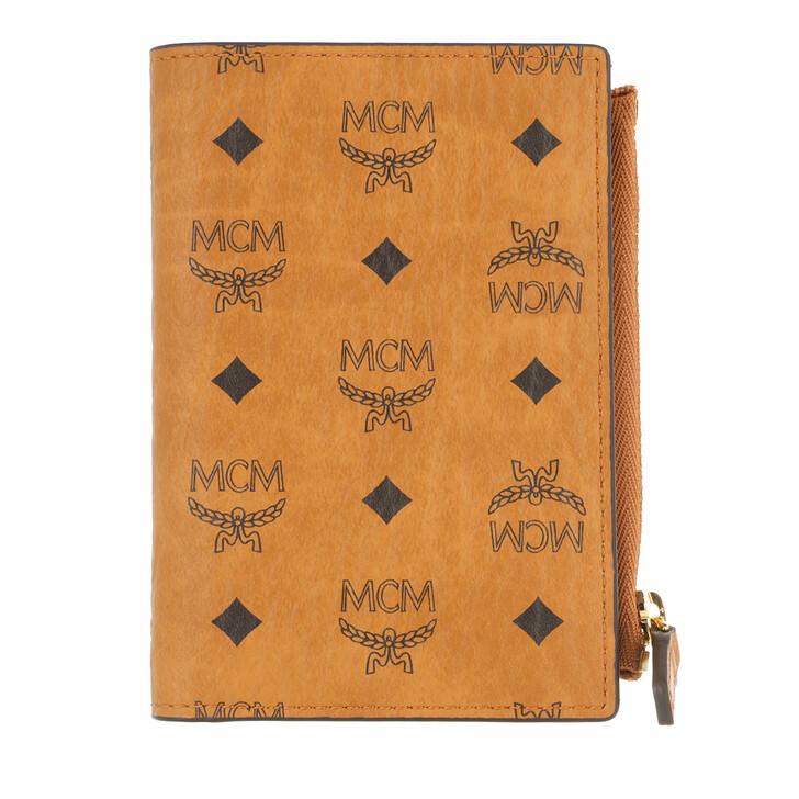 wallets, MCM, Visetos Original M-F19 Slim Wallet W Snap Mini  Cognac