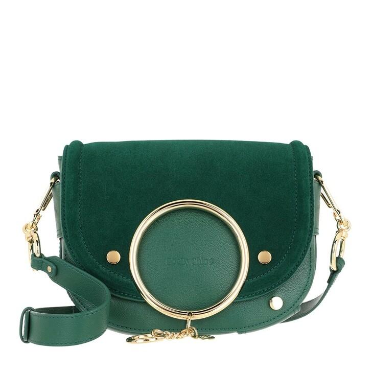 bags, See By Chloé, Mara Shoulder Bag Velvet Leather Woodsy Green