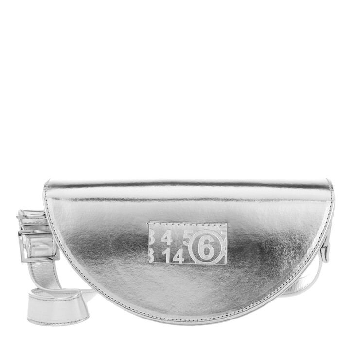 Handtasche, MM6 Maison Margiela, Metallic Leather Shoulder Bag Silver