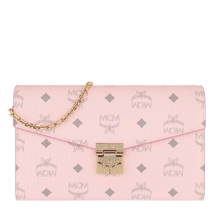 wallets, MCM, Patricia Visetos Crossbody Wallet On Chain Powder Pink
