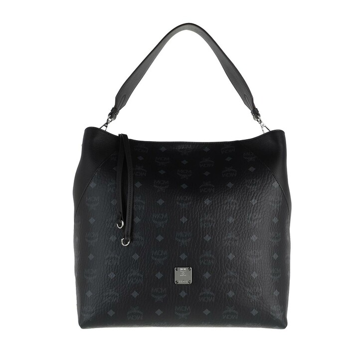 Handtasche, MCM, Large Klara Visetos Monogram Hobo Bag Black