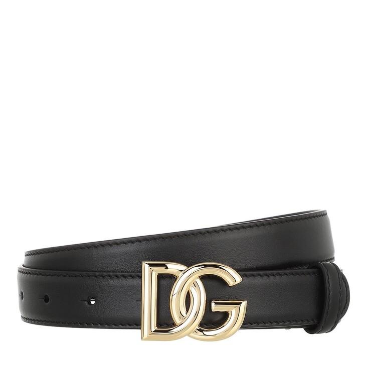 belts, Dolce&Gabbana, DG Logo Belt Leather Black