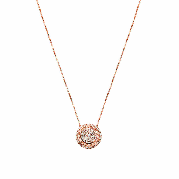 Kette, Michael Kors, 14k Gold-Plated Pavé Focal Pendant Necklace Rose Gold-Tone