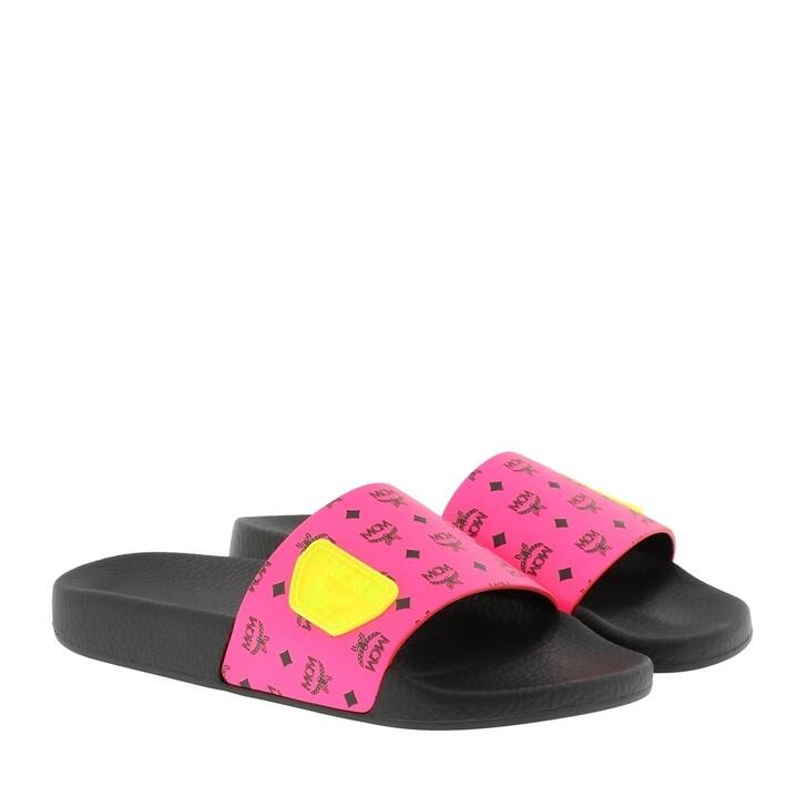 Schuh, MCM, W Neon Visetos Slide Neon Pink