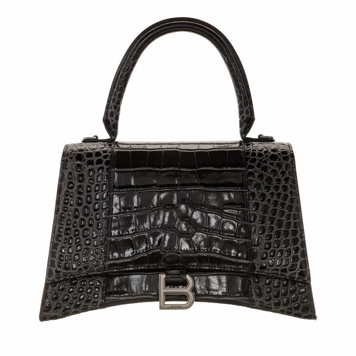 Handtasche, Balenciaga, Hourglass Medium Satchel Bag Leather Dark Grey