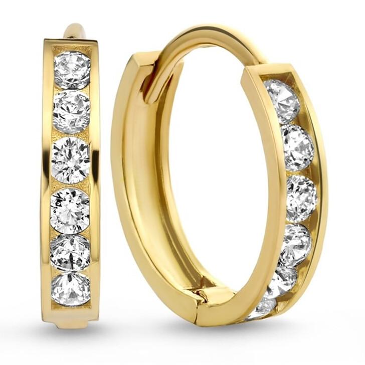 earrings, Isabel Bernard, Le Marais Tiphaine 14 Karat Hoop Earrings With Zir