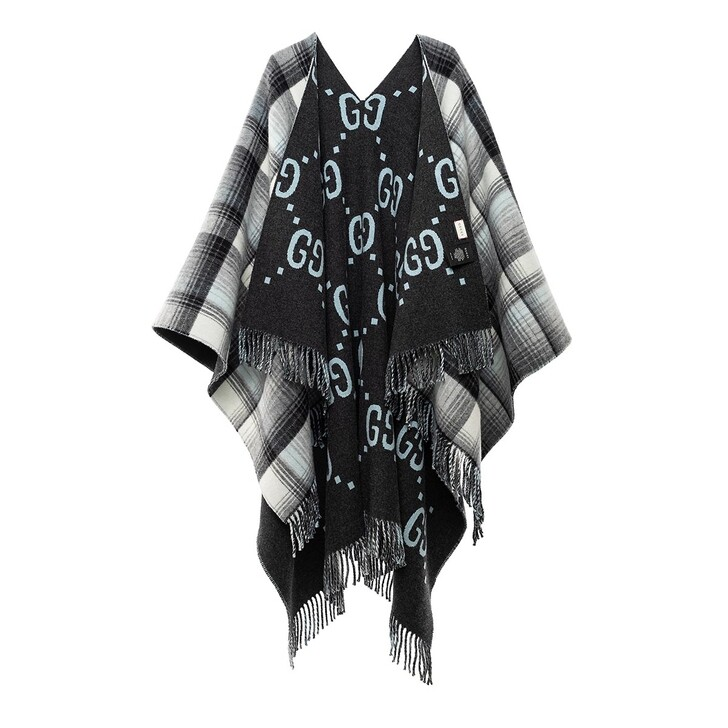scarves, Gucci, Reversible Poncho GG Wool Graphite/Grey