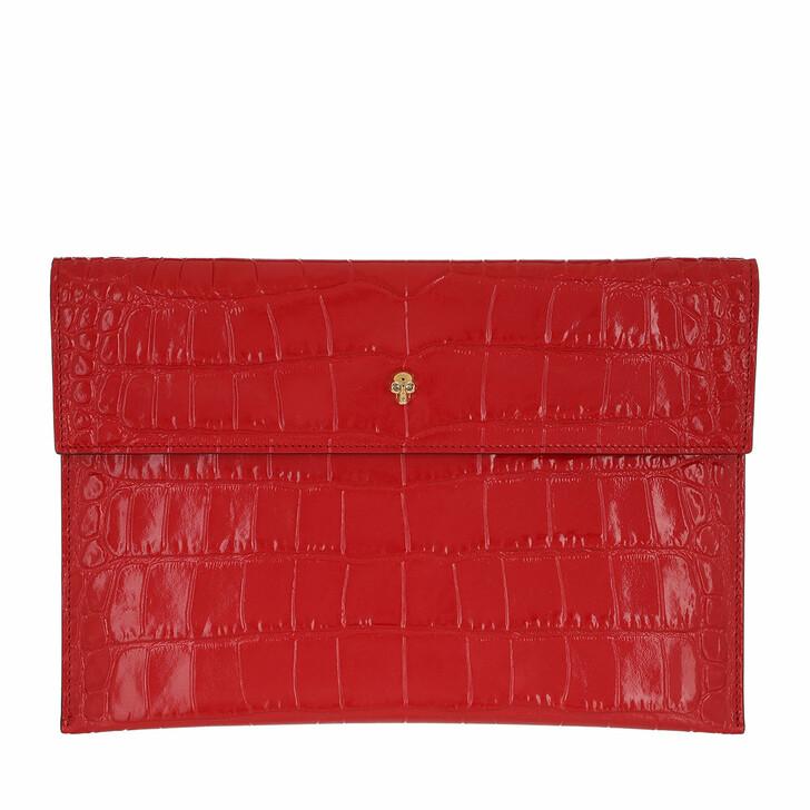 bags, Alexander McQueen, Envelope Clutch Leather Deep Red