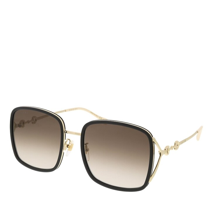 sunglasses, Gucci, GG1016SK-004 58 Sunglass Woman Injection Black-Gold-Brown