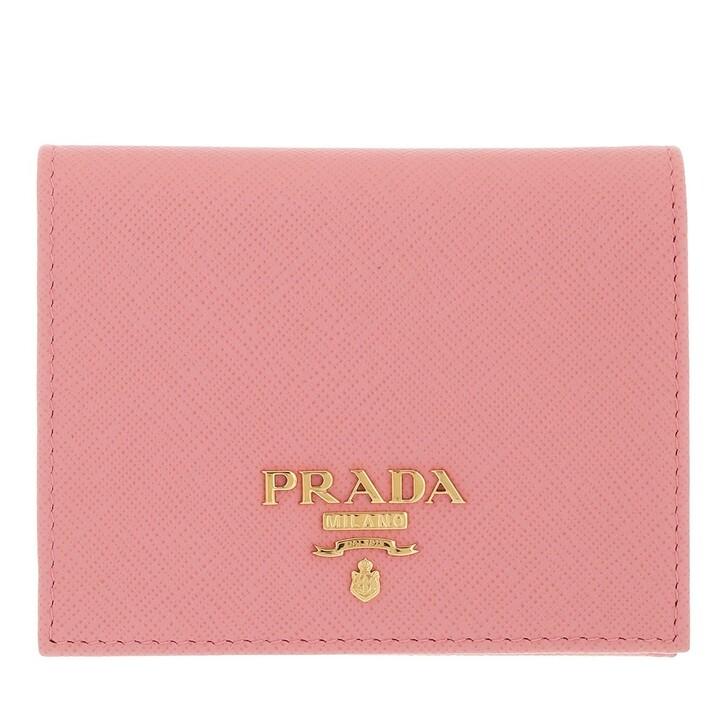 wallets, Prada, Simple Wallet Flat Saffiano Logo Lettering Petalo