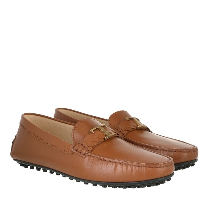 shoes, Tod's, City Gommino Loafers Leather Brandy Scuro