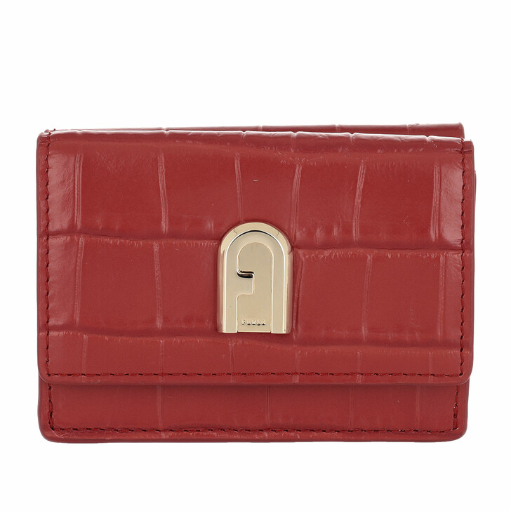wallets, Furla, 1927 Small Compact Trifold Wallet Chili Oil