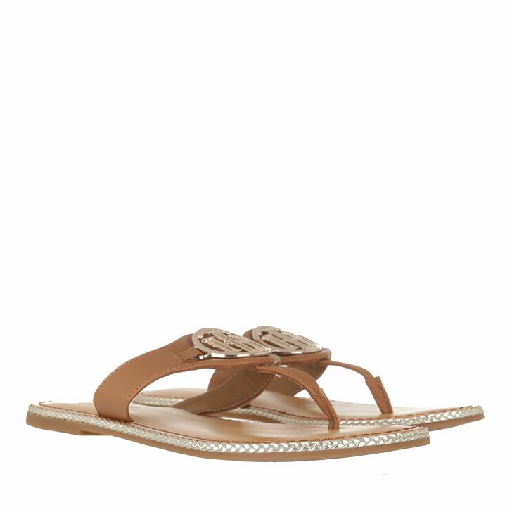 Schuh, Tommy Hilfiger, Essential Flat Sandals Leather Summer Cognac