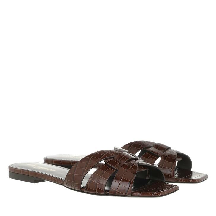 Schuh, Saint Laurent, Tribute Mule Leather Brown