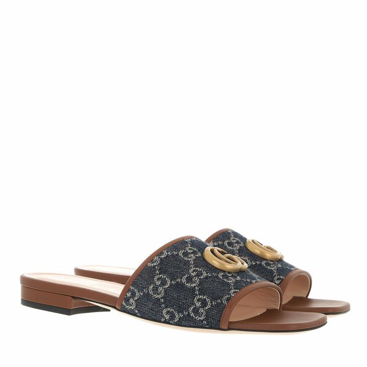 shoes, Gucci, GG Slide Sandals Blue Tear Cuir