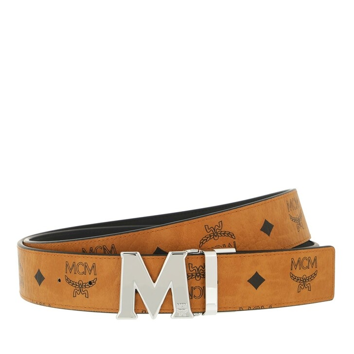 belts, MCM, Reversible Belt Sh Cobalt, 3.8, 130  Cognac