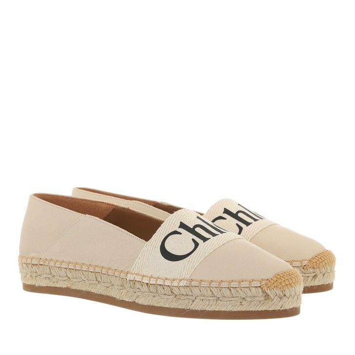 shoes, Chloé, Woody Flat Espadrilles Leather Canvas Softwhite