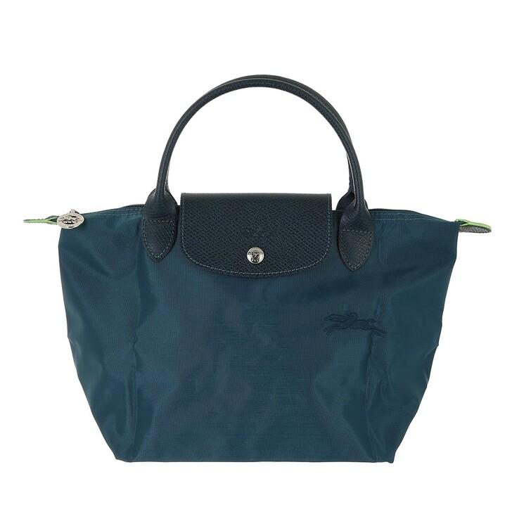 bags, Longchamp, Le Pliage Green Handbag Ocean Blue