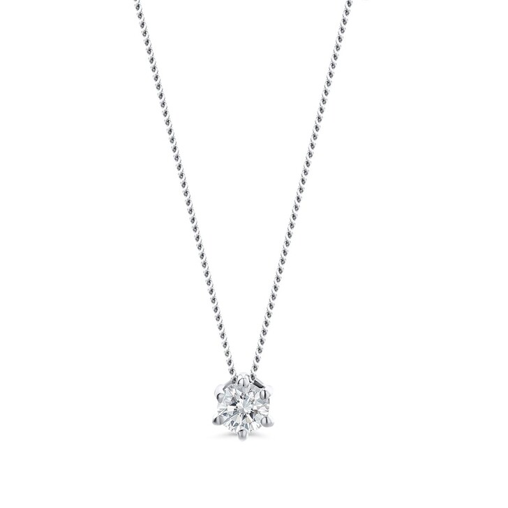 Kette, DIAMADA, 0.1ct Diamond Solitaire Necklace  14KT White Gold