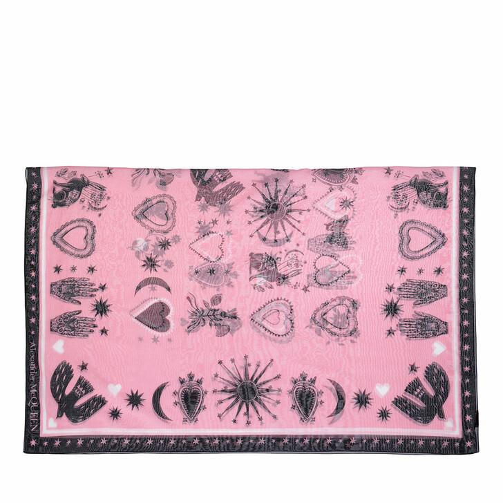 scarves, Alexander McQueen, Pareo Mystical Scarf Pink/Black