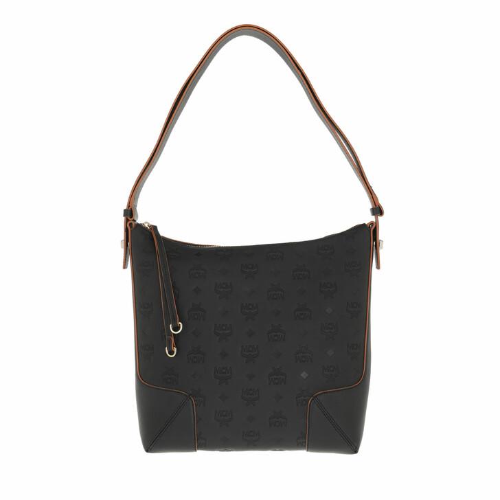 bags, MCM, Klara Monogram Leather Hobo Medium  Black