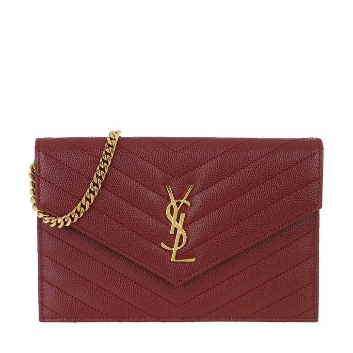 wallets, Saint Laurent, Monogramme Envelope Chain Wallet Opyum Red