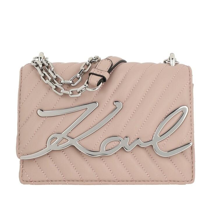 Handtasche, Karl Lagerfeld, Signature Stitch Small Shoulderbag Powder Pink