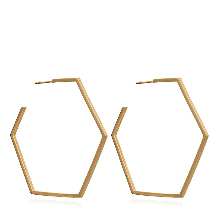 Ohrring, Rachel Jackson London, Oversized Hex Hoops Gold