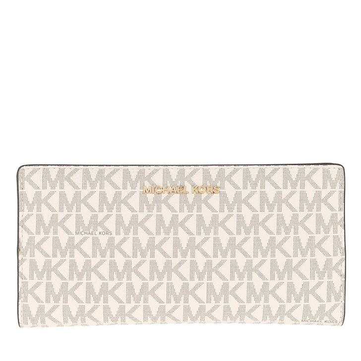 wallets, MICHAEL Michael Kors, Jet Set Large Card Carryall Vanilla/Acorn