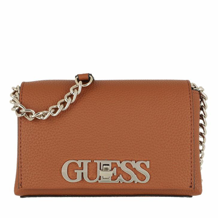 Handtasche, Guess, Uptown Chic Mini Xbody Flap Cognac