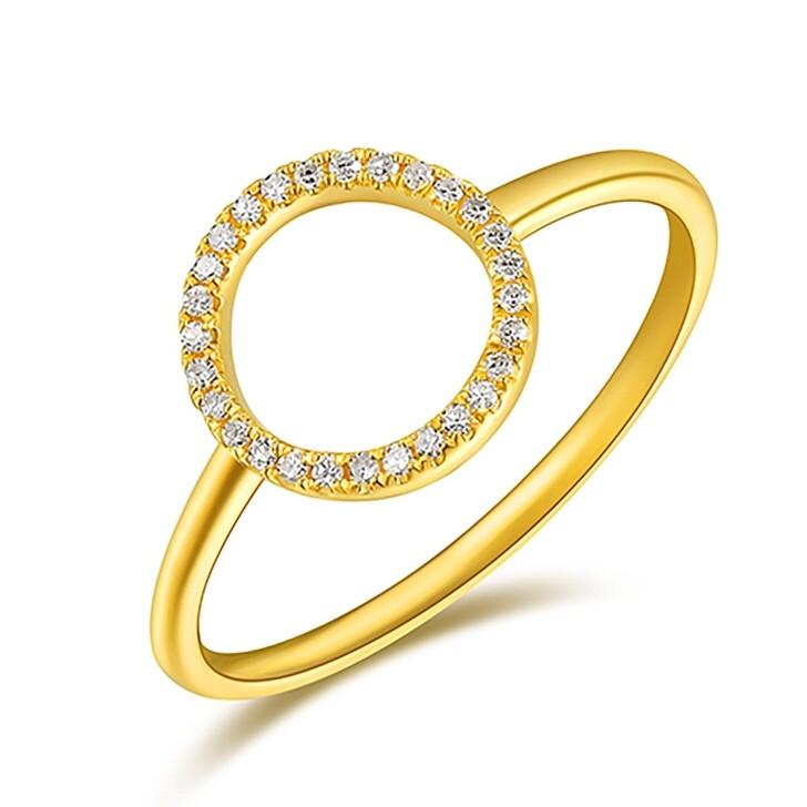 Ring, Leaf, Ring Circle Brilliant Gold