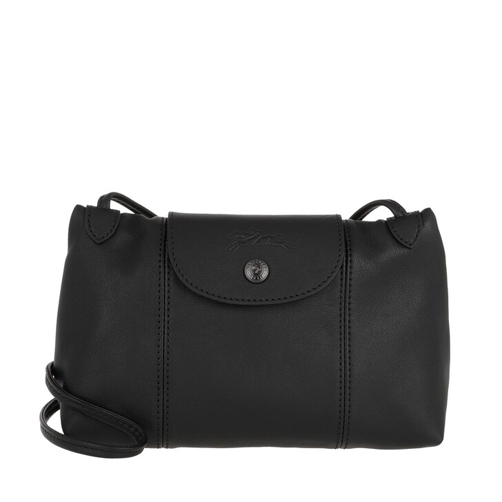 bags, Longchamp, Le Pliage Cuir Crossbody  Black