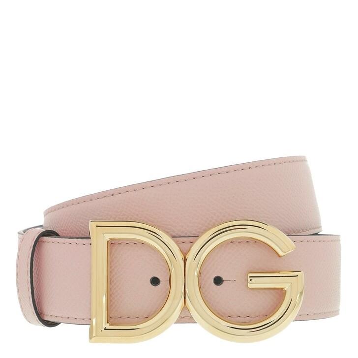 Gürtel, Dolce&Gabbana, DG Belt Rosa Polvere Black